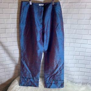 Tono Su Tono Irridescent Blue Slubbed Crop Pants